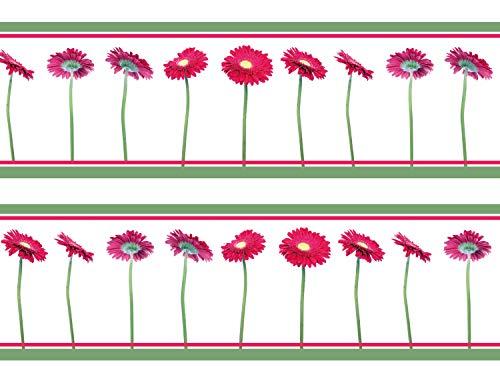 wandmotiv24 Bordüre Pinke Gerbera 260cm Breite - Selbstklebend Borte Tapetenbordüre Bordüren Borde Wandborde Garten Blume rosa M0006