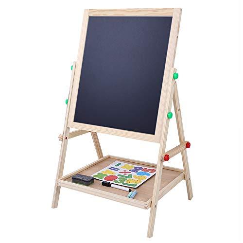 Wakects 2 en 1 caballete de madera para niños niños de pie arte madera de dibujo de doble cara caballete para niños pizarra blanca y pizarra con soporte ajustable