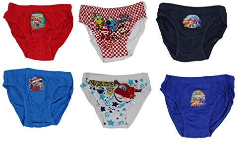 Super Wings Unterwäsche für Jungen, Schlüpfer aus 100% Baumwolle mit den fliegenden Helden, Flugzeuge Donnie, Jett und Jerome im 6er Pack, bunt, blau, rot, weiß (122)