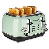 Korona 21675 Toaster, 4 Scheiben, Mint, Röstgrad-Anzeige, auftauen, rösten, aufwärmen, 1630 Watt, Brötchen-Aufsatz