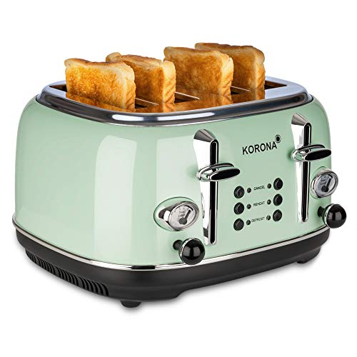 Korona 21675 Toaster | 4 Scheiben | Mint | Röstgrad-Anzeige | auftauen, rösten, aufwärmen | 1630 Watt | Brötchen-Aufsatz | Krümel-Schublade | Brotscheiben-Zentrierung