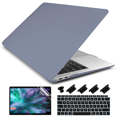 Dongke Newest MacBook Air 13 inch Case 2020 2019 2018 Release A2179 A1932, Frosted Matte Hard Case Cover for MacBook Air 13.3 inch with Retina Display Touch ID - Lavender Gray