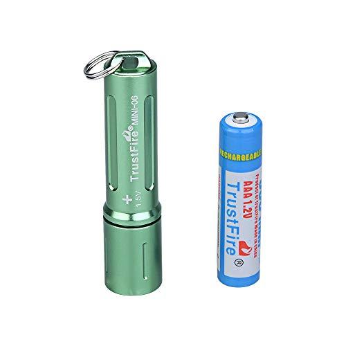TrustFire MINI-06 - Linterna LED (90 lúmenes, con llavero y batería AAA recargable), color negro, azul, verde, rojo y dorado, verde