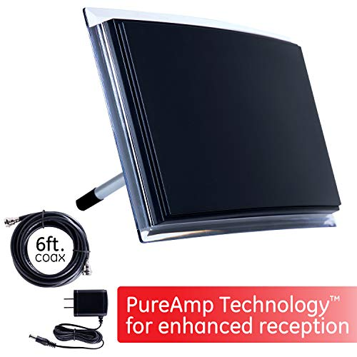 GE Indoor TV Antenna, Amplified Long Range HD Antenna, Digital, HDTV Antenna, Smart TV Compatible, 4K 1080P VHF UHF, 6Ft Coaxial Cable, Amplifier, Signal Booster, Perfect Home Décor, 34134