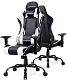 GTPOFFICE Gaming Chair Office Computer Racing Chairs Reclining High Back for Adult Adjustable Swivel with Headrest and Lumbar Support Cushion(White)