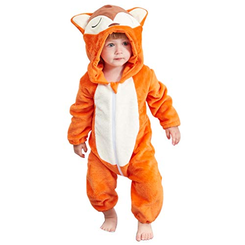 IDGIRL Baby Fox Costume, Animal Cosplay Pajamas for Boy Winter Flannel Romper Outfit 6-12 Months, Orange One Piece