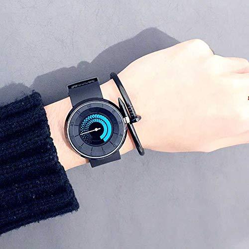 HZBIOK Reloj Mujer Nueva Rotación Creativa Giradiscos Mujer Relojes Sílice Correa De Gel Reloj Deportivo De Cuarzo Mujer ModaAzul
