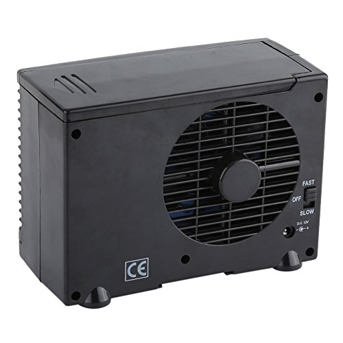 Zerone Car Air Conditioner Fan, Universal DC 12V Mini Portable Air Conditioner Fan Low Noise Black Evaporative Water Cooler Cooling Fan for Car Truck Home