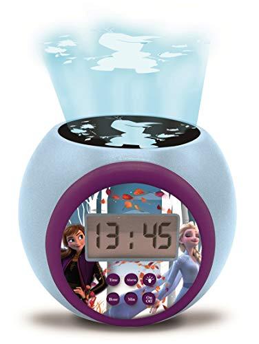 Lexibook Réveil projecteur Disney La Reine des Neiges 2 Anna Elsa avec fonction alarme et répétition snooze, veilleuse avec minuterie, écran LCD, à piles, bleu/violet, RL977FZ