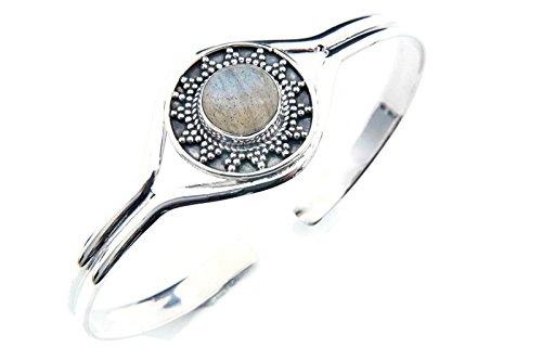 Labradorit Armreif 925 Silber Sterlingsilber Armband Armspange blau (MAR 04-05)