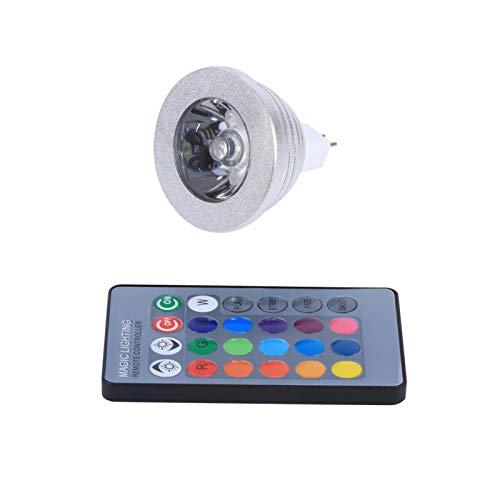 Gugxiom Foco LED, MR16 3W RGB Bombilla de lámpara Que Cambia de Color de luz LED Regulable Base de 2 Pines Ángulo de Haz de 60 ° 12V-24V con Control Remoto de 24 Teclas para Barra de Inicio
