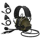 TAC-Sky COMTA III - Auriculares tácticos con doble conector (protección auditiva, amplificación de sonido para Airsoft, color verde militar)