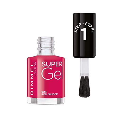 Rimmel London Super Gel by Kate Moss French Manicure Smalto Unghie Effetto Nail Polish Gel a Lunga Durata, 12 ml, 024 Red Ginger