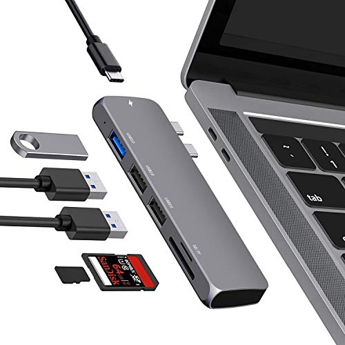 MacBook Pro adapter,6in1 USB C Hub adapter,thunderbolt 3 PD 100W, 4K HDMI, USB3.0, SD/Micro SD Card Reader Compatible with MacBook Pro 2020/2019/2018/2017, MacBook Air 2020-2018
