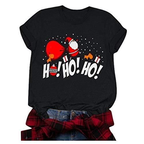Zylione Damen Weihnachtspullover T-Shirts Rundhals-Ausschnitt Tops Bluse Rot Kleidung Pulli Freizeit Xmas Bluse Shirt Weihnachtsmann Snowman Drucken Shirt