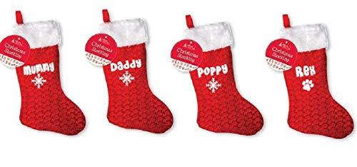 pretty little customs Calcetín personalizado para Navidad, con nombre o texto para niños, adultos, mascotas, gato, perro, estampado de huellas (calcetín individual, estampado brillante plateado)