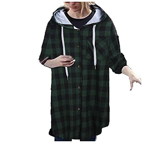 Amandaz Casual långärmad huvtröja, blus, kappa, dam, rutig skjorta, knappar, långärmad, kappa, skjortjacka, retro stil, rutig basic jacka pojkvän look jacka rock med rutmönster skjorta, Grön, S