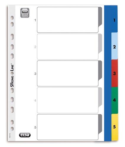 Preisvergleich Produktbild ELBA 100205096 Kunststoff-Register Strong-Line 25er Pack Zahlen 1-5 5-teilig A4 Extrabreit für die ideale Ablage von Prospekthüllen