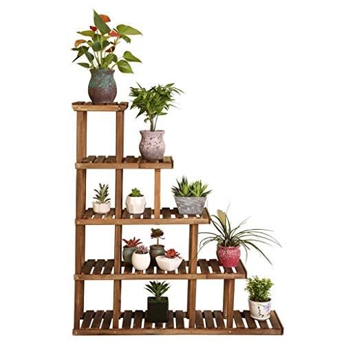 Flower Stand Solid Wood Anticorrosive Multilayer Balcony Floor-Standing Flower Pots Bonsai Shelf Shelf Plant Stand Multifunction Environmental Protection GFMING (Color : Wood)