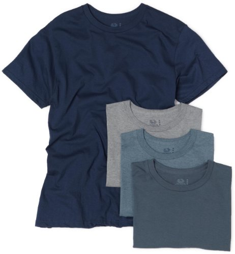 Fruit of the Loom Men's Crew Neck T-Shirt (Pack of 4), Assorted Blues and Grays, X-Large