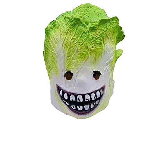 Máscara espeluznante aterradora del zombi fantasma, cubierta de cabeza de látex vegetal, máscara de col de Halloween, seguro y no tóxico, novedad fiesta de disfraces de Halloween máscara de látex