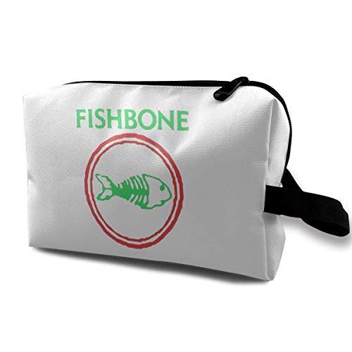 Hdadwy Fishbone Retro Punk Rock and Roll Band Cool Cosmetic Bag Storage Travel Makeup Bag