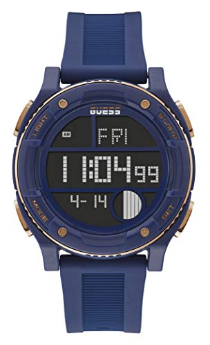 GUESS Men's Stainless Steel Quartz Watch with Silicone Strap, Blue, 24 (Model: GW0225G2)