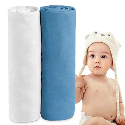 Dreamzie - 2er SetSpannbettlaken 70x140 cm - 100% Jersey Baumwolle Zertifiziert Oeko-TEX® - Weiß und Blau - Für Babybett Matratzen 70 x 140 x 12 cm
