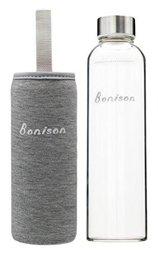 Bonison Stylish Borosilicate Glass Water Bottle with Colorful Nylon Sleeve, 18 oz, Grey