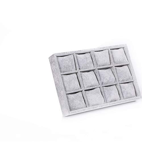 12 Grids Watch Box Grey Fashion Suede Ice Velvet Display Tray with Pillow for Storing Jewelry Bracelet Watch
