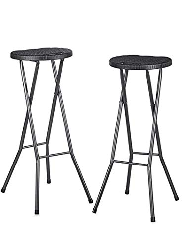 QYZ Folding Bar Stools Without Backrests, Breakfast Chair Double Pack, Bars Chair For Weddings, Birthdays, Parties, Company Events Set Of 2, Waterproof, Black