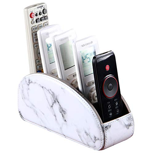 Laikesj Leather TV Remote Control Holder with 5 Compartments Remote Caddy Desktop Organizer for Storage TV DVD BluRay Media Player Heater ControllersWhite