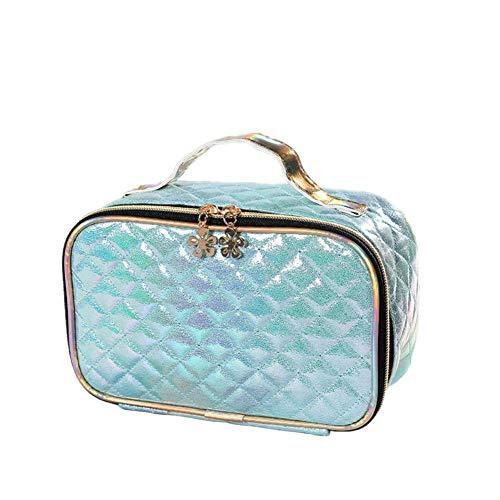 BIGBOBA Sac cosmétique pour femme, sac cosmétique portable multifonctionnel étanche en PU, sac cosmétique carré à carreaux (Bleu)