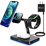 WAITIEE 3 in 1 Magnetic Wireless Charger Fast Wireless Charging Station with m-agSafe Charger PD Adapter Compatible with iPhone 12/12 Pro Max/Mini/AirPods Pro/AirPods 2 iwatch Series