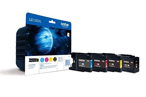 Brother LC1280XL - Pack de 4 Cartuchos de Tinta de Larga Duración (hasta 2.400 Págs/Negro y 1.200 Págs/Color Según ISO/IEC 24711), Multi-Pack (Negro, Amarillo, Magenta, Cian)