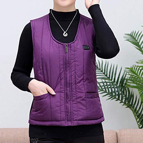 Roboraty Verwarmd vest, oplaadbare USB-warmte-jas voor dames en heren, wasbare elektrische warme kleding voor skiën, jagen, kamperen en wandelen X-Large paars