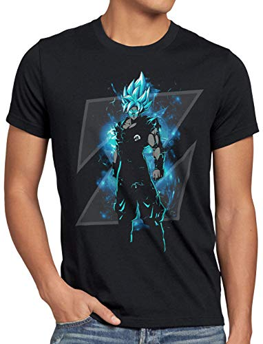 style3 Son-Goku Z Blue Herren T-Shirt god Modus Evolution Saiyajin Dragon, Größe:M