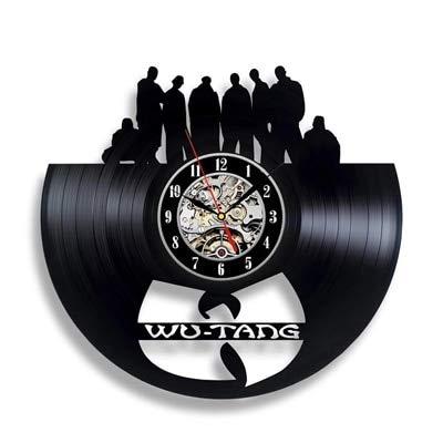 qweqweq Reloj Hip Hop Reloj de Pared de Vinilo Retro Diseño Moderno Reloj de Pared con Tema Musical Decoración del hogar Regalo de Ventilador
