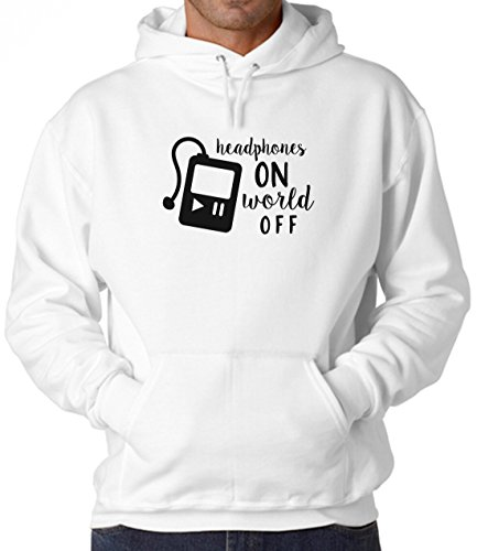 Headphones On World Off White Unisex Hoodie