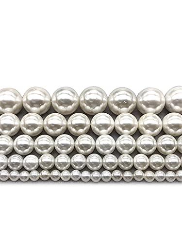 Perlas redondas sueltas de la perla de la concha blanca natural para la fabricación de la joyería de la pulsera DIY Strand 15 pulgadas 4/6/8/10/12 mm blanco 6mm aprox 63beads