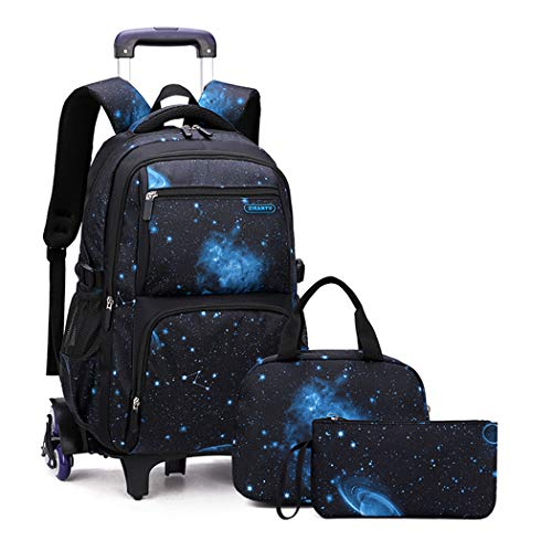 Bansusu 3Pcs Galaxy Prints Black Rolling Backpack for Primary Middle School Boys Wheeled Bookbag Satchels with Lunch Kits