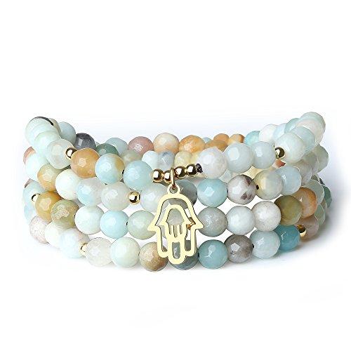 coai Tree of Life Charm Multi-Color Amazonite Stone 108 Mala Beads Wrap Bracelet Necklace...
