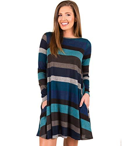 Taigood Donna Vestito Elegante Colorato Striscia Manica Lunga Abiti Knit Vestiti Eleganti Christmas Mini Abito Autunno Inverno