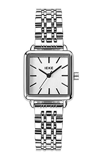 Damenuhr Silber Edelstahl Elegante Quadrat Wasserdicht Armbanduhr für Frauen Minimalistische Klassisch Design Damen Uhren Analog Quarz