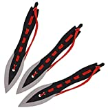 VIKING GEAR® 3X Wurfmesser Set Profi 19cm schwarz rot Darts Wurfmesser - Survival - Outdoor - Jagd...