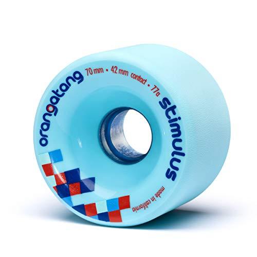 Orangatang Stimulus 70 mm 80a Freeride Longboard Skateboard Wheels (Blue, Set of 4)
