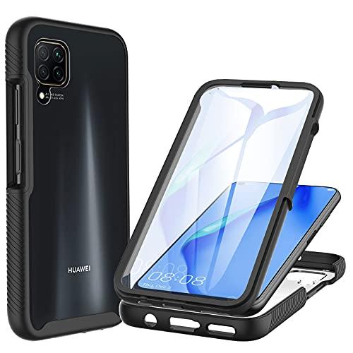 CENHUFO Funda Huawei P40 Lite 4G Antigolpes con Protector de Pantalla Incorporada Anti-rayones [Anti-Amarilleo] 360 Grados Protección Case Bumper Transparente Carcasa para Huawei P40 Lite 4G - Negro