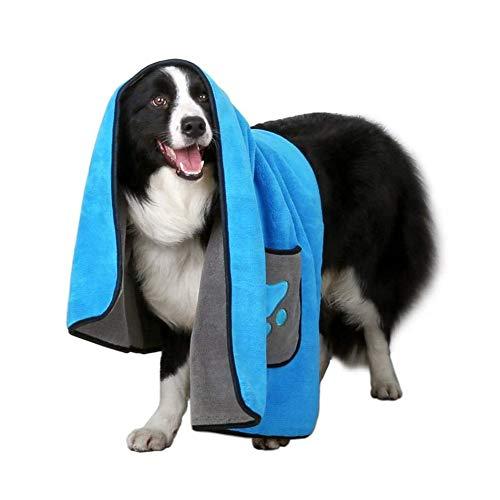 YiGanQiang Toalla de Toalla de Toalla de baño de Microfibra Toalla de Mascotas súper Absorbente, para pequeños Perros de baño Grandes Gatos (Color : Blue)