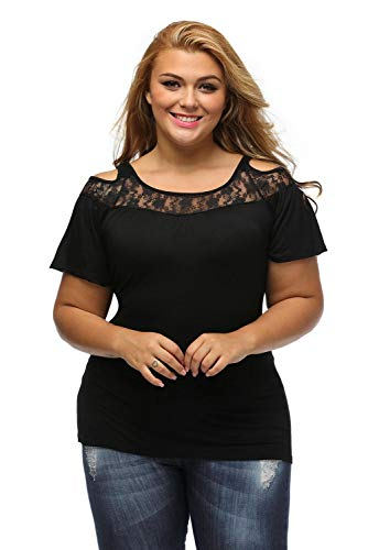 LittleLlittleSky Womens Black Floral Lace Yoke Cold Shoulder Pleated Plus Size Blouse Top ((US 14-16)XL)