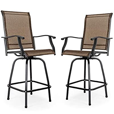 Nuu Garden Outdoor Bar Stools Set of 2, Wrought Iron Patio Furniture Set, 2 Piece Swivel Bar Height Bistro Chairs - Breathable Textilene, Black/Brown